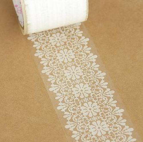 "transparentes Tape ""Spitze"" Flower Packband Klebeband"