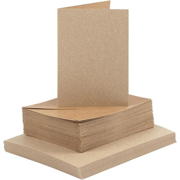 50 Stk. Kraftpapier Karten quadr. 10 x 15 cm inkl. Umschläge