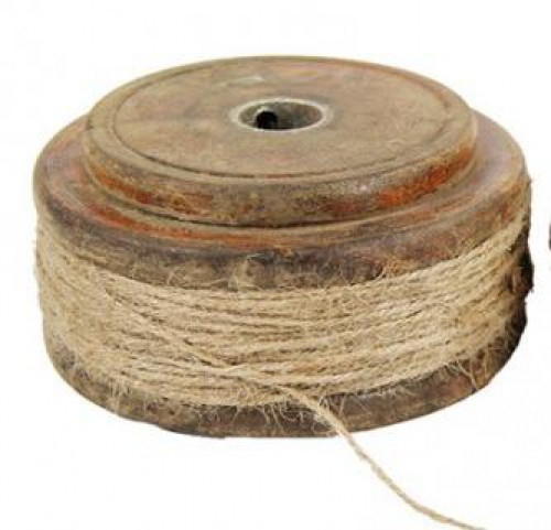 Band rot mit weißen Streifen 10 m auf Holzspule Chic Antique