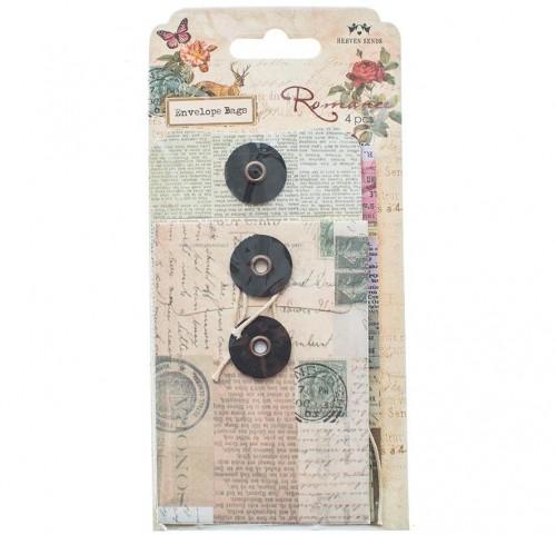 Set 4 vintage Button String / Paketanhänger Umschläge