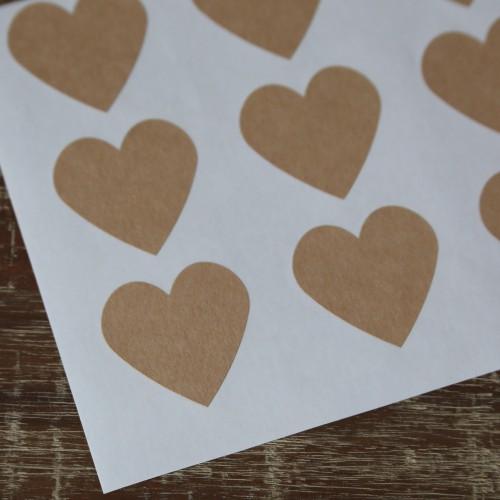 12 Sticker Label Herz Kraft 38 x 38 mm