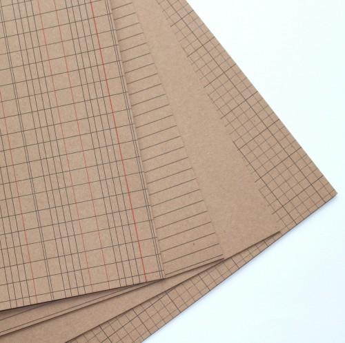 20 Bögen Kraftpapier 30x30cm 280gr Schulheftdesign