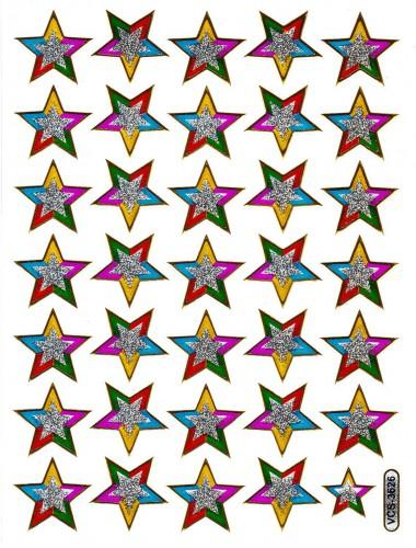 Sticker Sterne 35 Motive Aufkleber schillernd