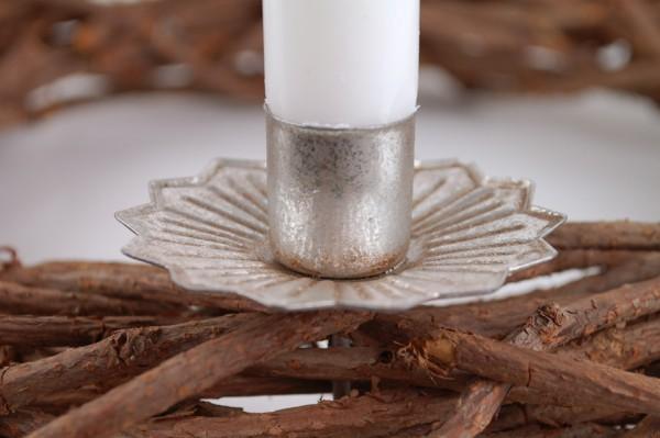 Kerzenhalter Adventskranzstecker silber antik Stabkerze