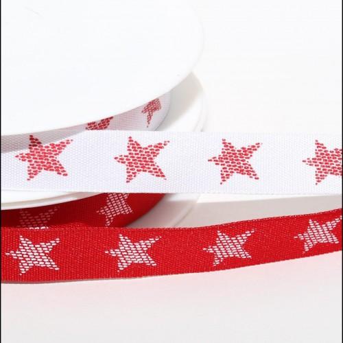 Band weiss mit roten Sternen 12mm