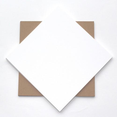 20 Karten Kraftpapier 15x15 weiss / Kraft 280gr