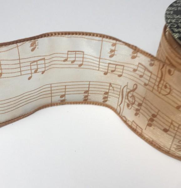 Organzaband braun creme mit Musiknoten B 62mm
