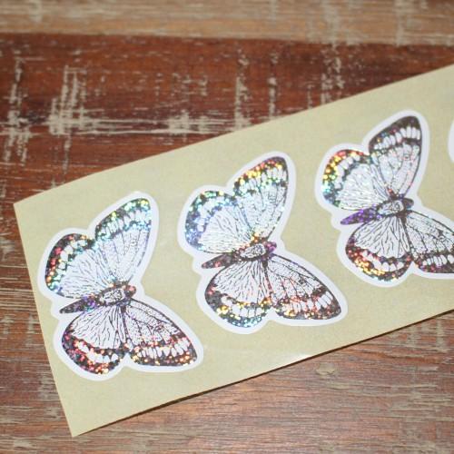 10 Sticker Schmetterling silber
