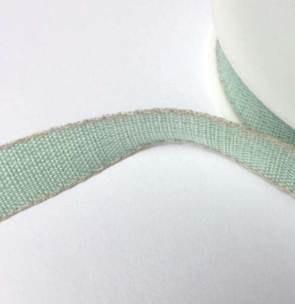 Schleifenband mint mit Leinenkante 15mm