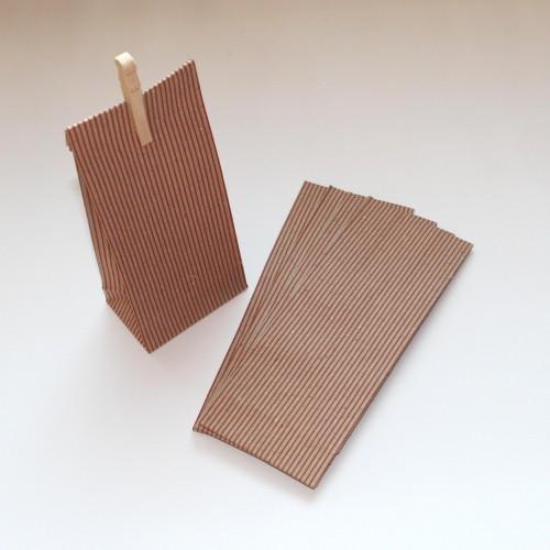 Papierbeutel Streifen Kraft 5 Stk klein