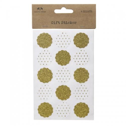 Sticker Scallop gold glitzernd 60 Stk Aufkleber