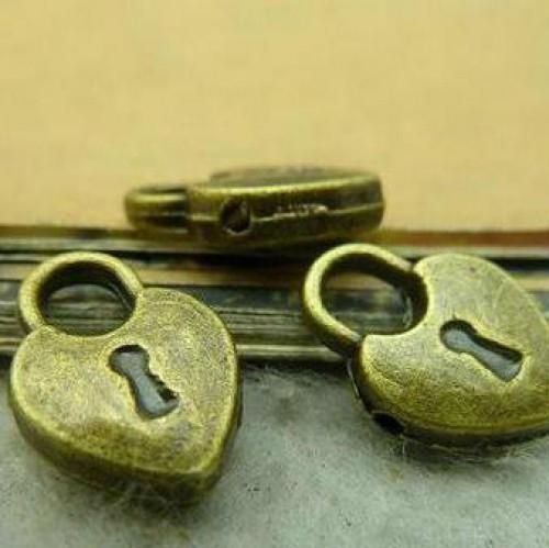 10 Anhänger Schloss Loveheart Lock bronze