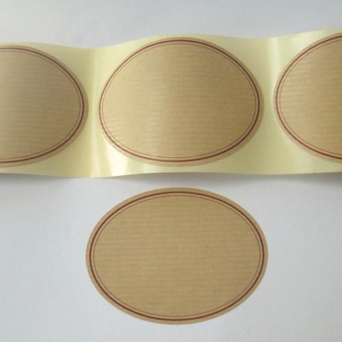 ovale Label aus Kraftpapier, gross 10 Stk