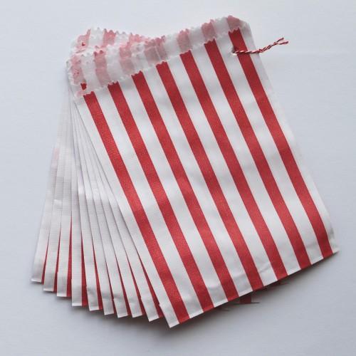 Papiertüten rot weiß gestreift, klein 10 Stk