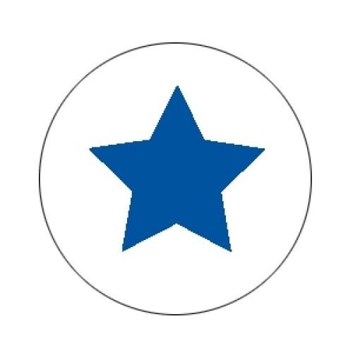 10 Stern Sticker Etiketten blau weiss gross