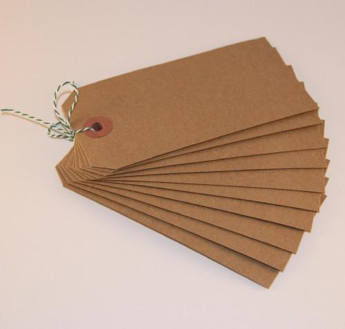 10 Paketanhänger Kraft natur 16x8cm