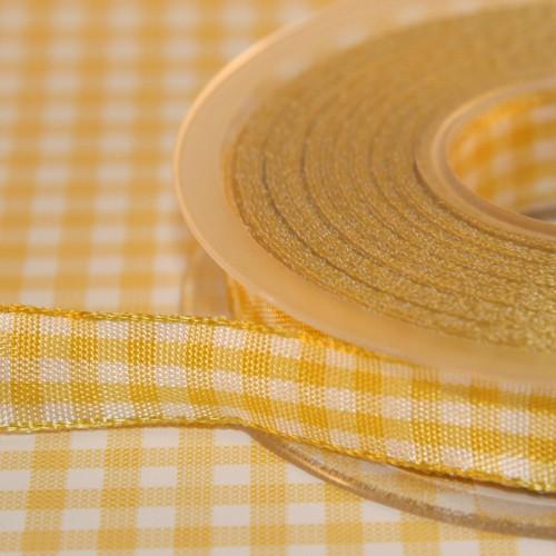 Schleifenband Bauernkaro gelb / weiss kariert 14 mm Landhaus