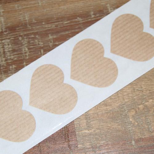10 Herz Sticker Kraft gerippt 38x32mm