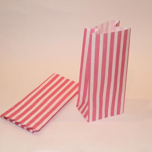 pink weiss gestreifte Papierbeutel mit Boden 10 Stk
