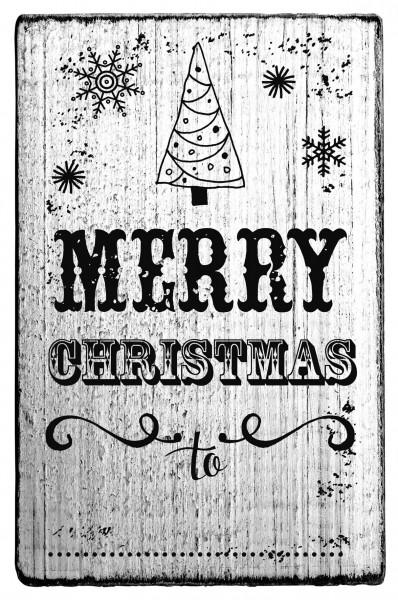 Stempel MERRY CHRISTMAS vintage Look 7 x 4 cm Label