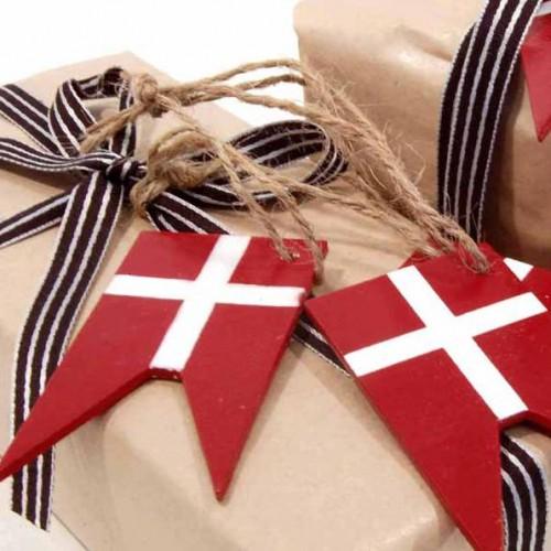 10er Set Dannebrog Flaggen Holzhänger