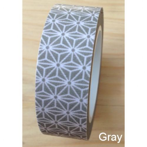 Masking Washi Tape - asanoha - grau weiss gemustert