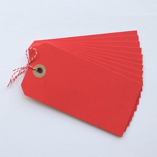 Paketanhänger rot 10 Stk groß
