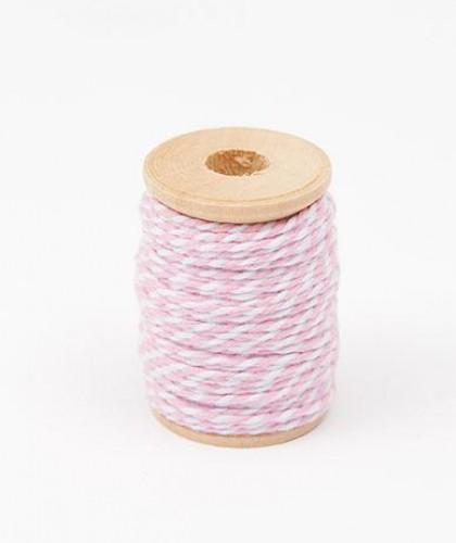 Garnrolle Baumwollgarn rosa / weiß 15 Meter