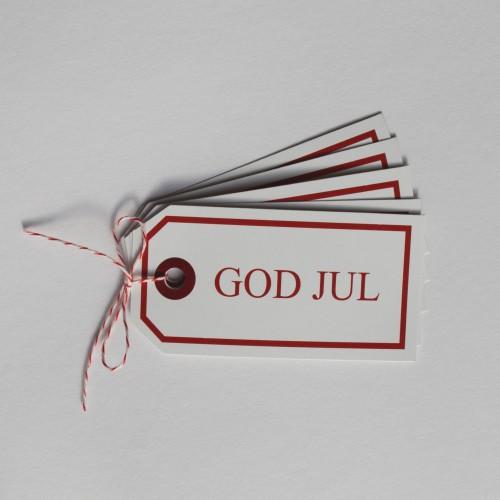 Paketanhänger Weihnachten God Jul rot 5 Stk