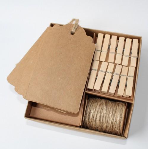 Bastelset Paketanhänger mit Band und Klammern DIY Kraft