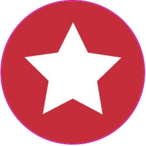10 Sterne Sticker Etiketten rot weiss