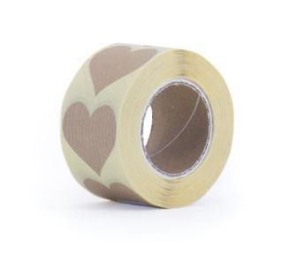 10 Herz Sticker Kraft gerippt 35x35mm