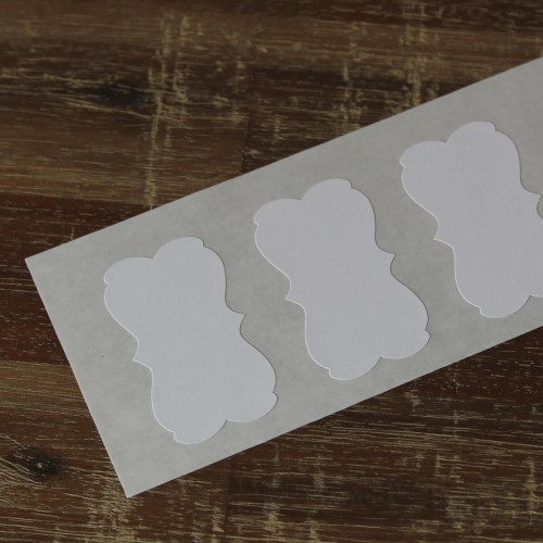 6 Sticker Label Bracket weiss 57 x 32 mm
