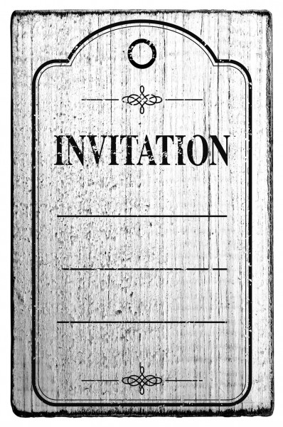Stempel INVITATION vintage Look 7 x 4 cm