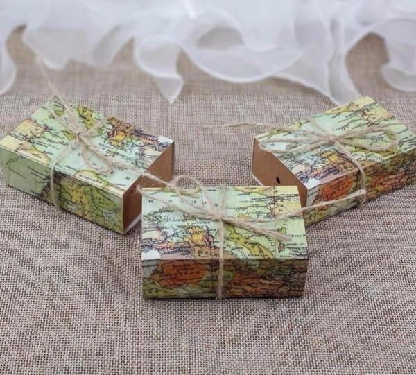5 Schachteln Giveaways Favours Hochzeit WORLD MAP