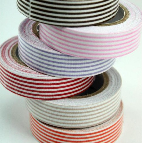 Rolle Fabric Tape Stripe orange weiss gestreift