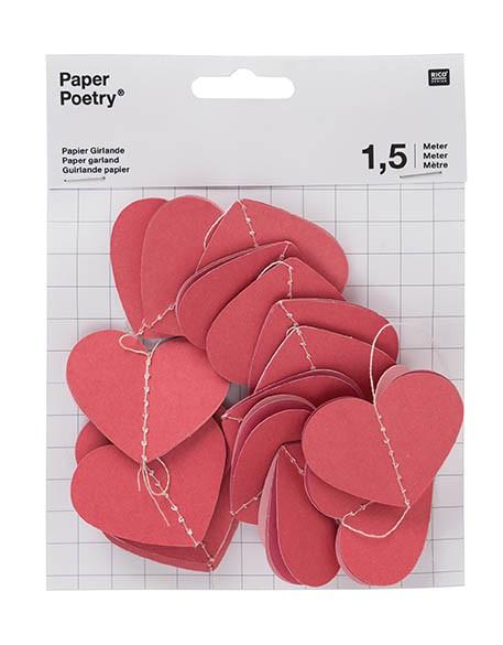 Papiergirlande rote Herzen 1,5m