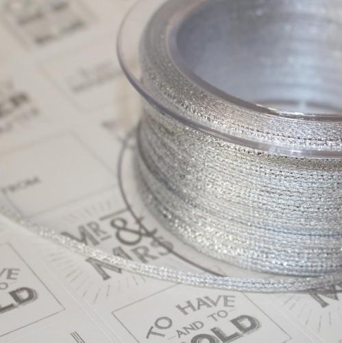 Glitzerbändchen Metallic silber