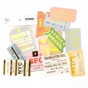Set vintage Sticker Tickets 24Stk