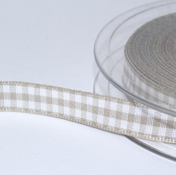 Schleifenband Bauernkaro greige / weiss kariert 10mm