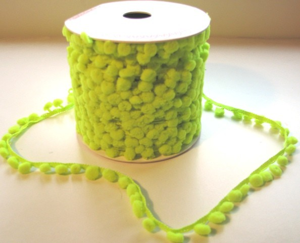 Band Pompom LIME NEONGRÜN D12mm Meterware