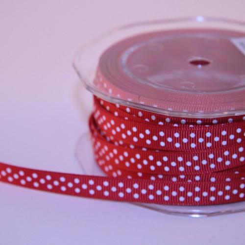 Schleifenband Rips rot weisse Punkte schmal 9mm