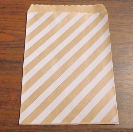 10 Papiertüten Kraft weiss gestreift stripes
