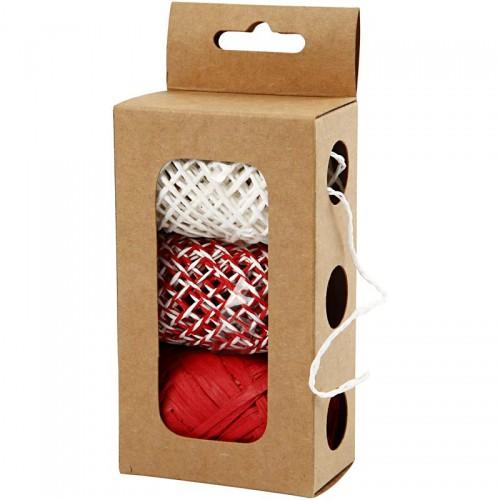 Set Papierkordel rot / weiss 3 x 10 Meter