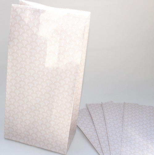 5 Stk Papiertüten Scallop zartes lachs rosé