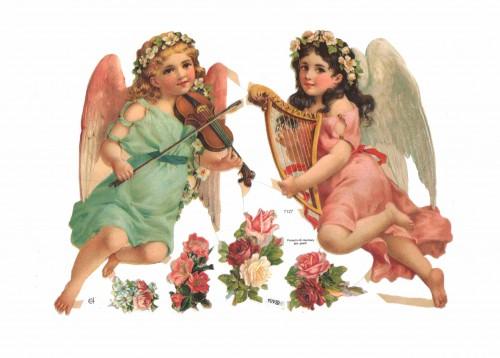 "Glanzbilder "" 2 Engel"" Bogen Nr. 04 Oblaten"