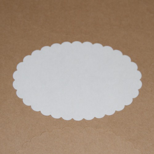 blanko A4 Bogen Kraftpapier braun Label 10 Stk Scallop oval