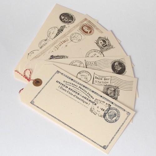 6 Paketanhänger Postkarten Reply 8x16cm