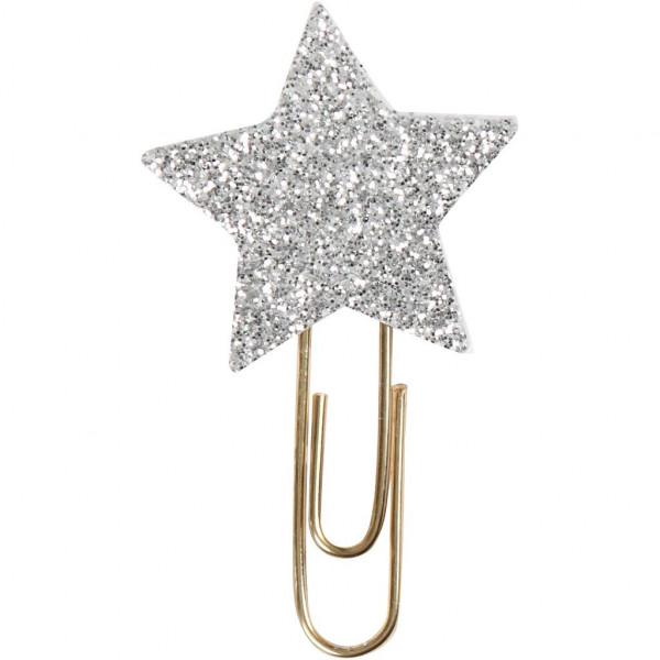 6er Set Dekoklammer STAR glitzer silber