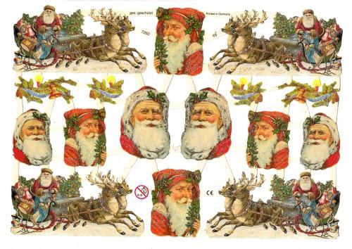 Glanzbilder Weihnachtsmann Rentierschlitten glitzernd